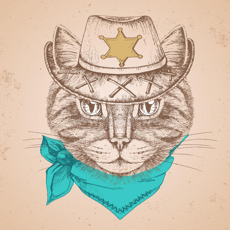 Retro Hipster animal cat. Hand drawing Muzzle of cat. Retro Hipster cat. Hand drawing Muzzle of cat stock illustration