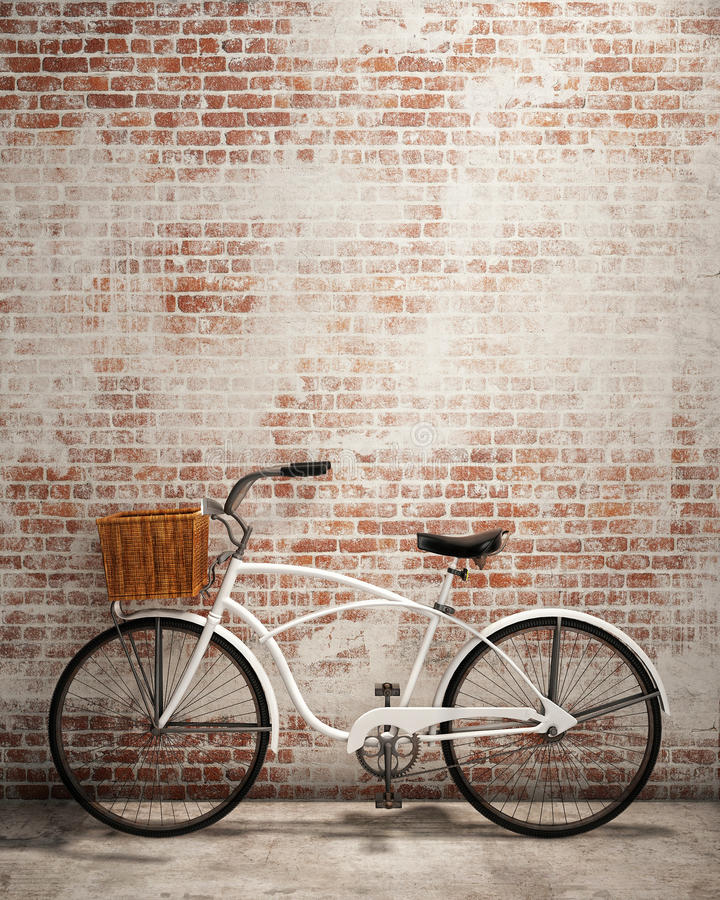Retro hipster bicycle in front of the old brick wall, background royalty free illustration