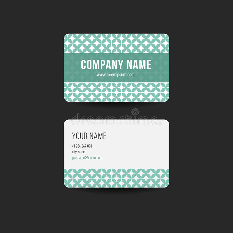 Retro hipster business card Design Template. Green color vector illustration