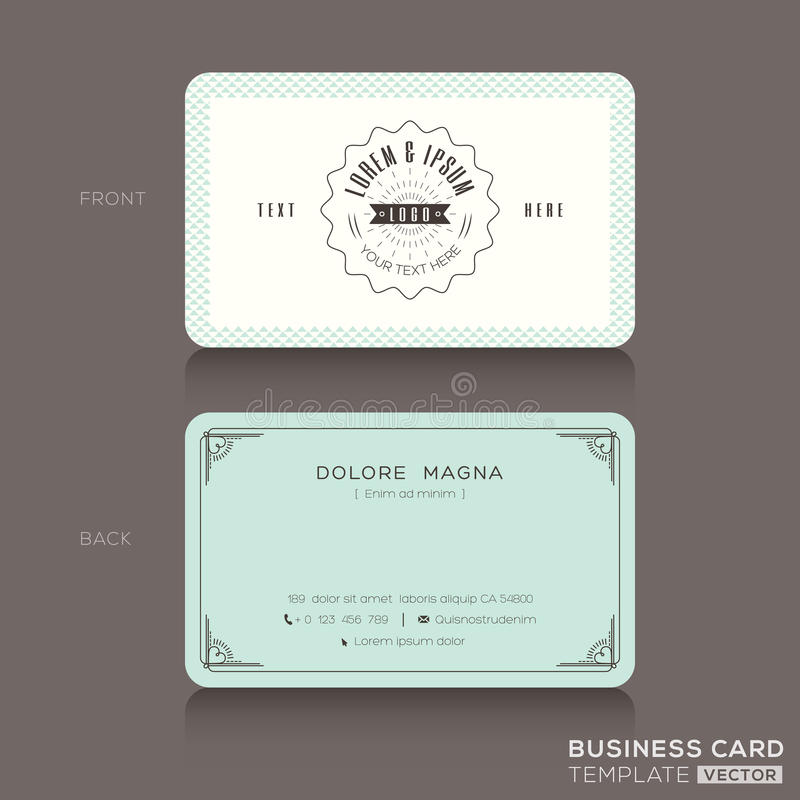 Retro hipster business card Template stock illustration