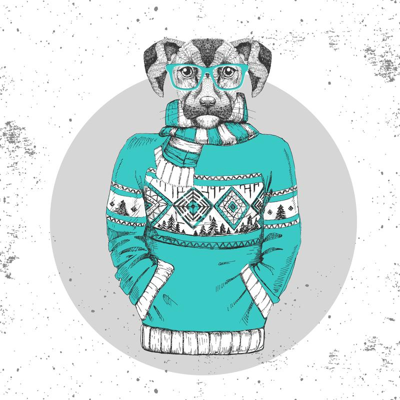 Retro Hipster fashion animal dog dressed up in pullover. Hipster animals vector illustration