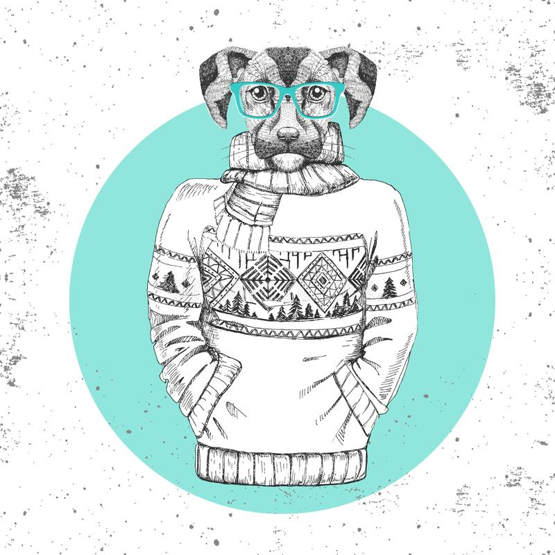 Retro Hipster fashion animal dog dressed up in pullover. Hipster animals stock illustration