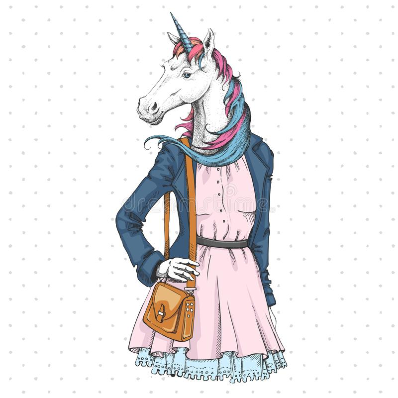 Retro Hipster fashion fantasy animal unicorn. Woman model. Illustration royalty free illustration