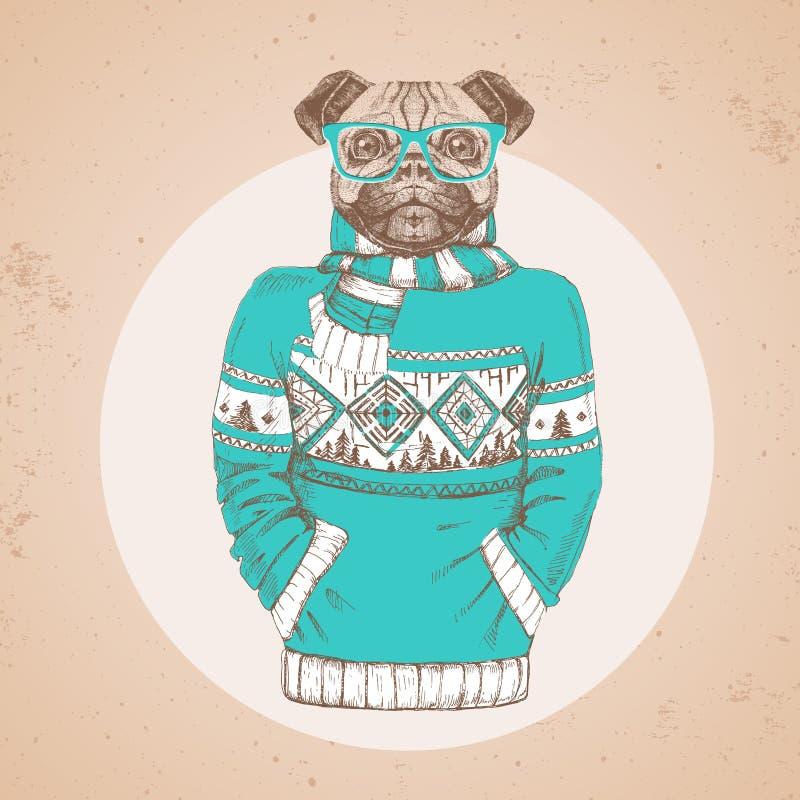 Retro Hipster-manier dierlijke pug-hond omhoog gekleed in trui royalty-vrije illustratie
