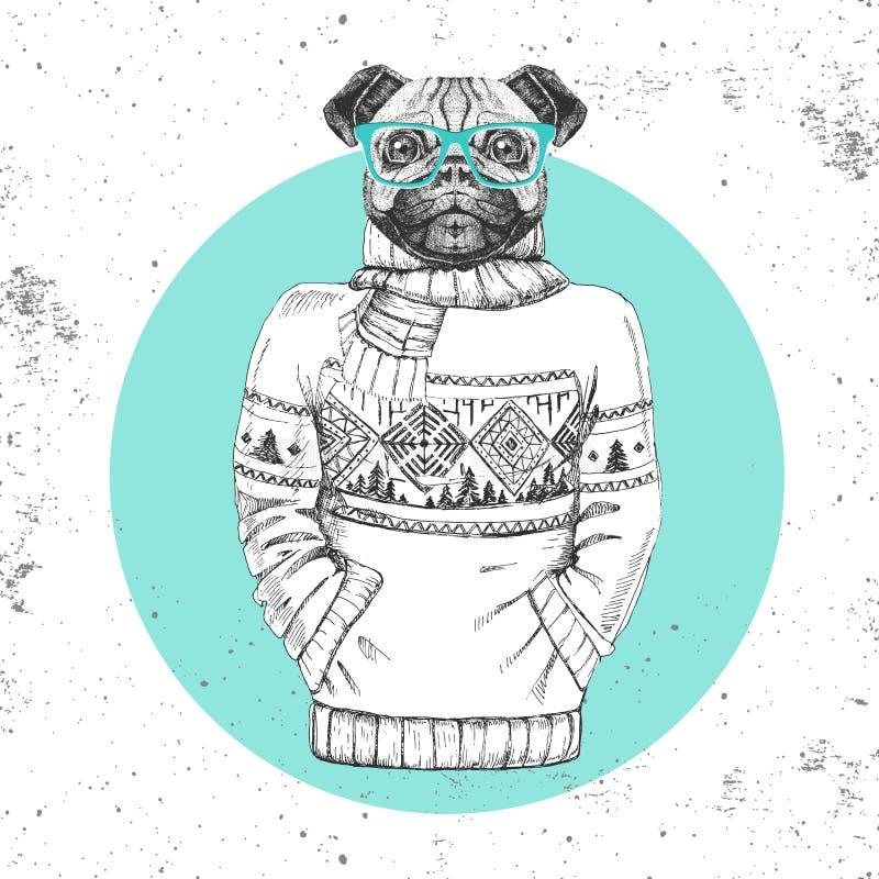 Retro Hipster-manier dierlijke pug-hond omhoog gekleed in trui vector illustratie