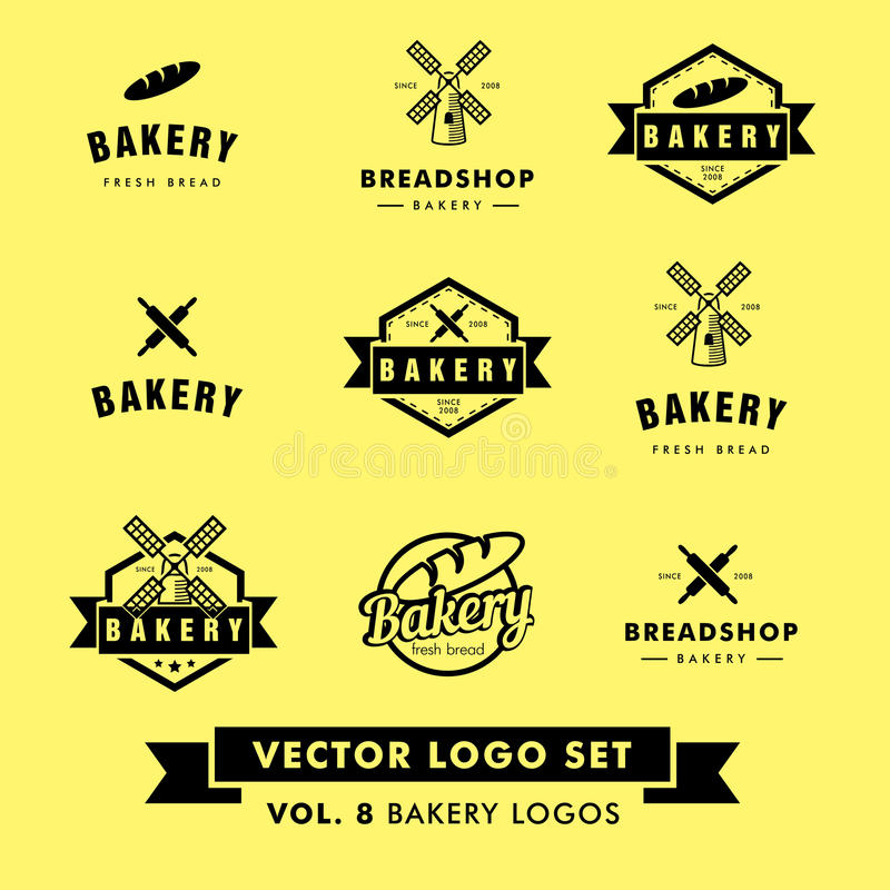 Retro Hipster Vintage Bakery Restaurant Vector Logo Set royalty free stock images