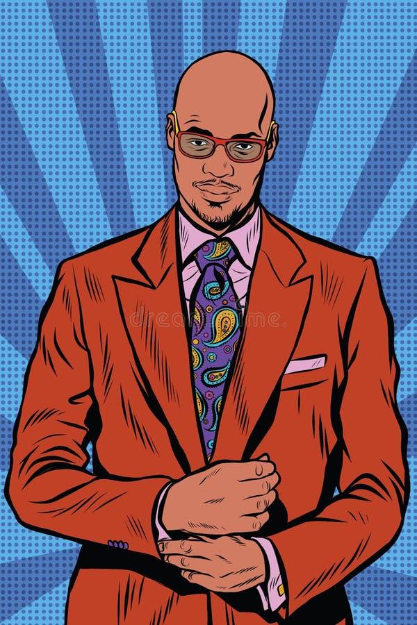 Retro hipsterafrikansk amerikan, svart man, elegant dräkt och sjungit royaltyfri illustrationer