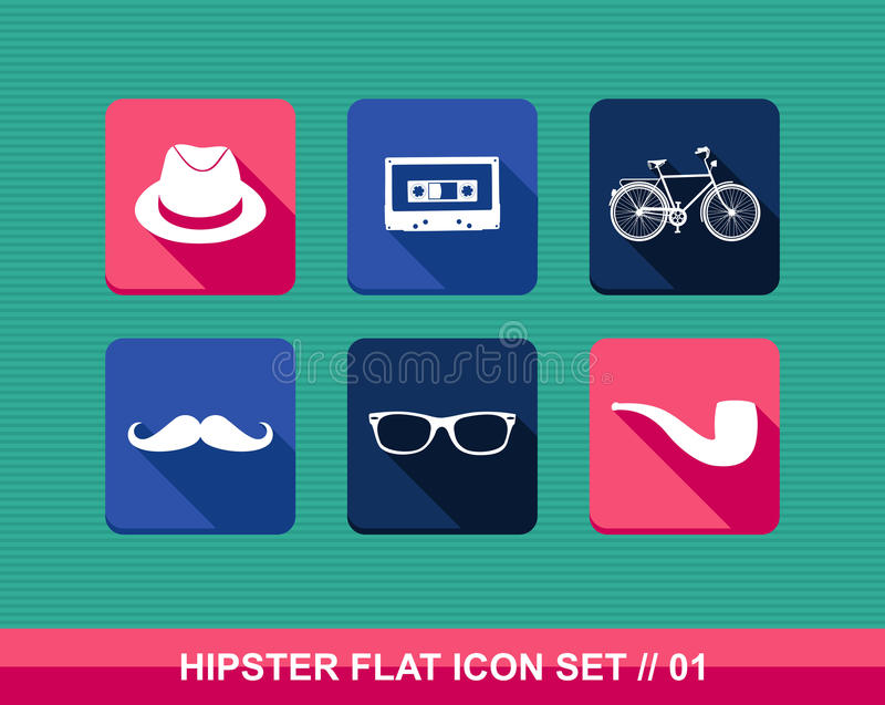 Retro hipsters flat icons set. royalty free illustration