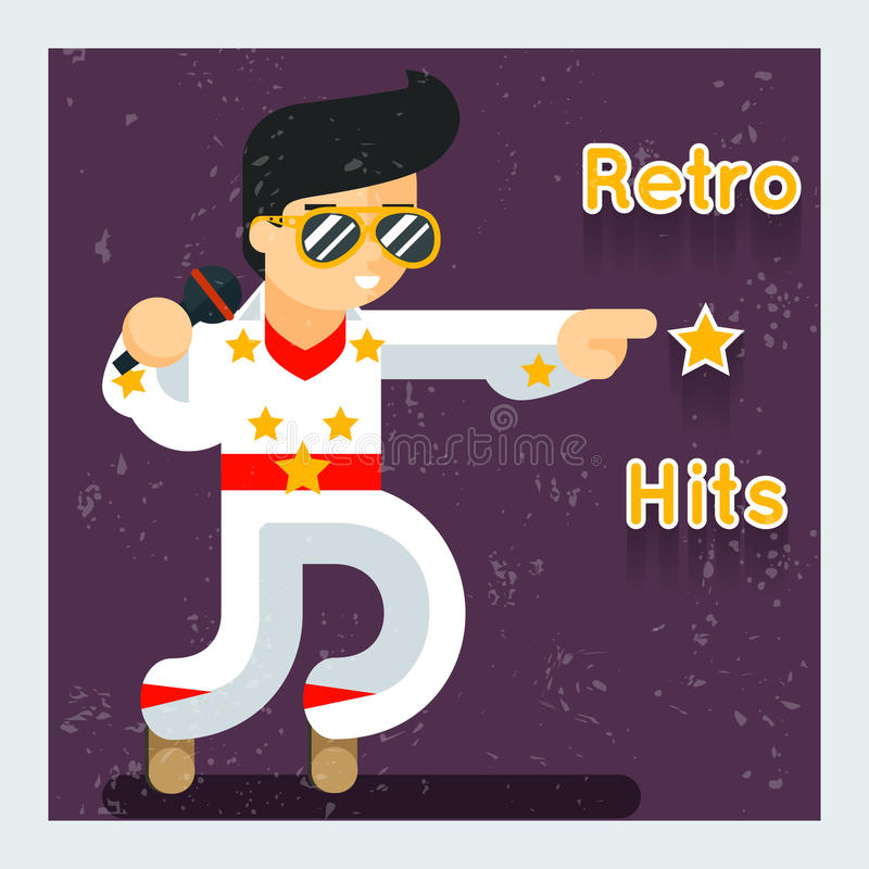 Retro hits singer like Elvis Presley. Disco and sound, entertainment and audio, vector illustration vector illustration