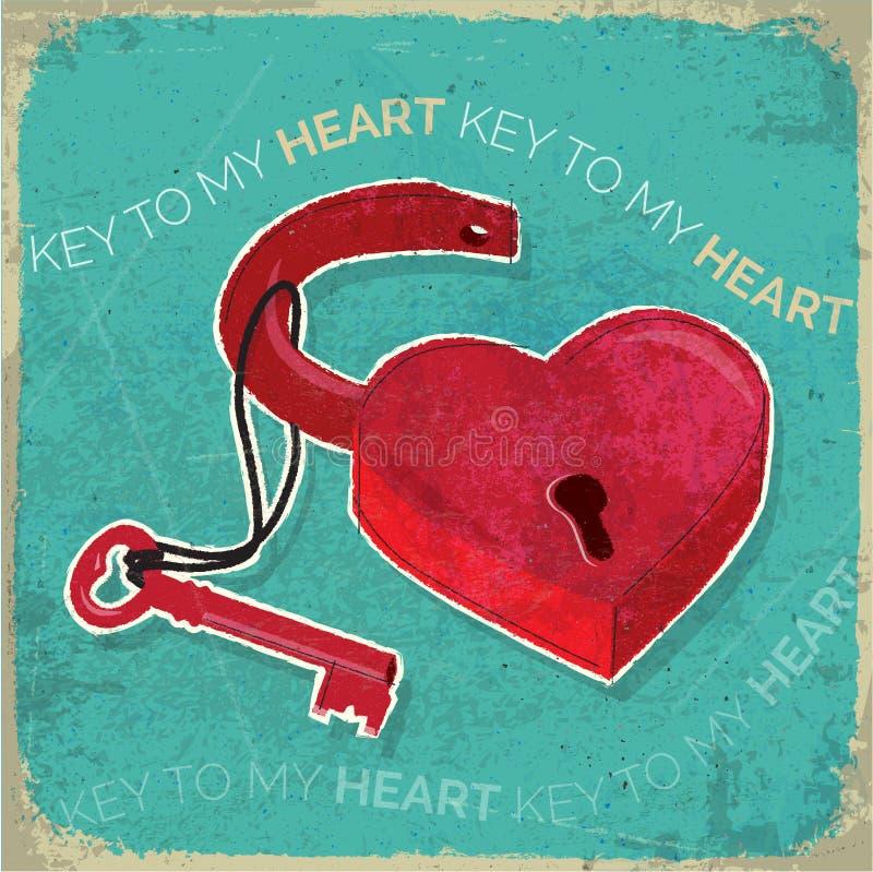 Retro hjärta formad hänglås och nyckel- lantlig textur vektor illustrationer