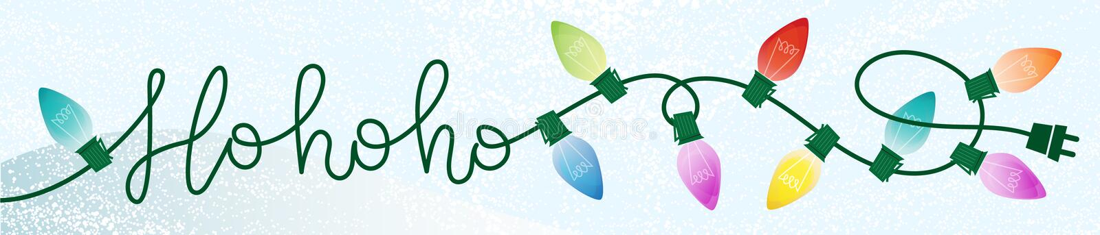 Retro Ho ho ho Christmas Writing Lights Snowy Background. Easy edit vector file royalty free illustration