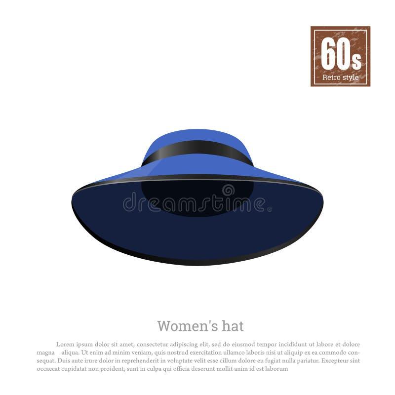 Retro hoed in realistische stijl op witte achtergrond Oude Manier jaren '60mode Uitstekend blauw GLB-pictogram royalty-vrije illustratie