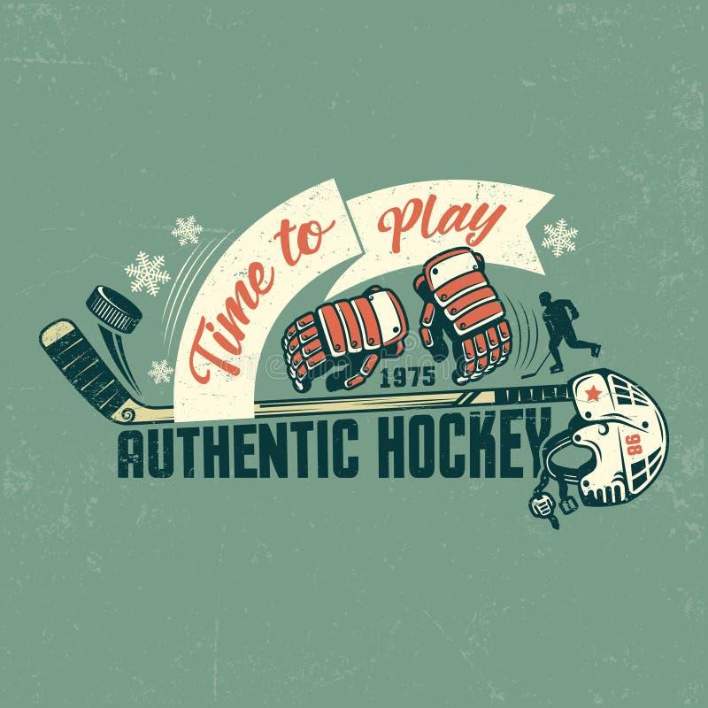 Retro hokejowy plakat ilustracja wektor