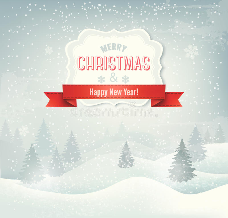 Retro holiday christmas background with winter lan vector illustration