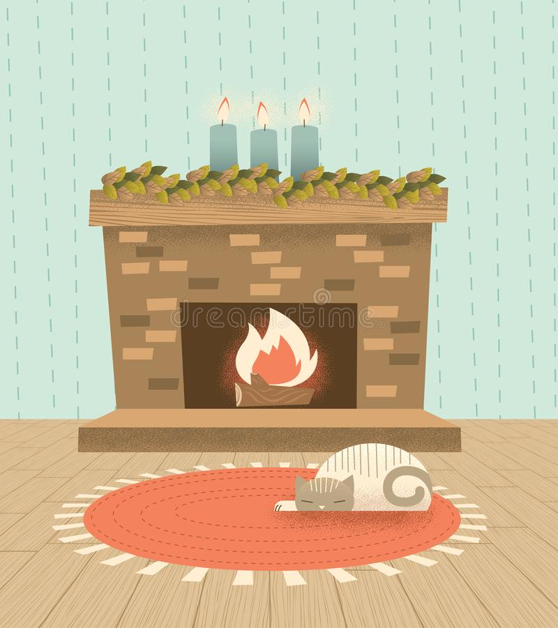 Retro Holiday Fireplace with Cozy Sleeping Cat stock photo