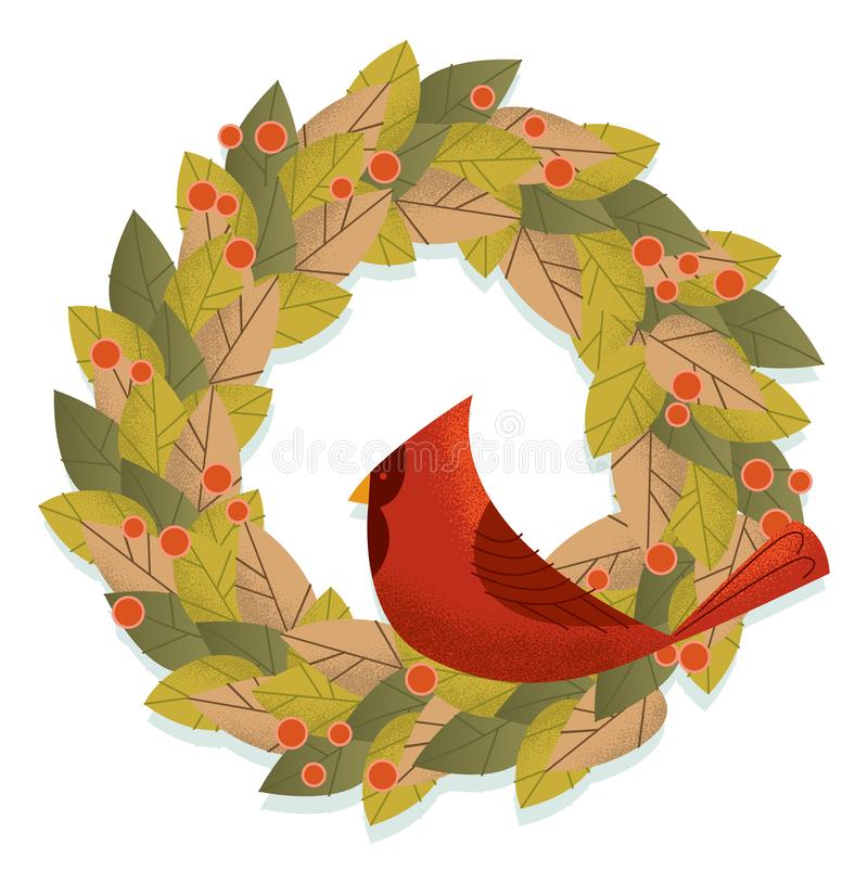 Retro Holiday Wreath with Vintage Cardinal royalty free stock photo