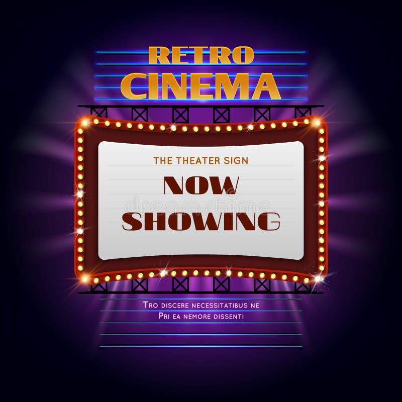 Retro hollywood cinema 3d glowing light sign. Movie light display billboard vector illustration. Retro cinema billboard event stock illustration
