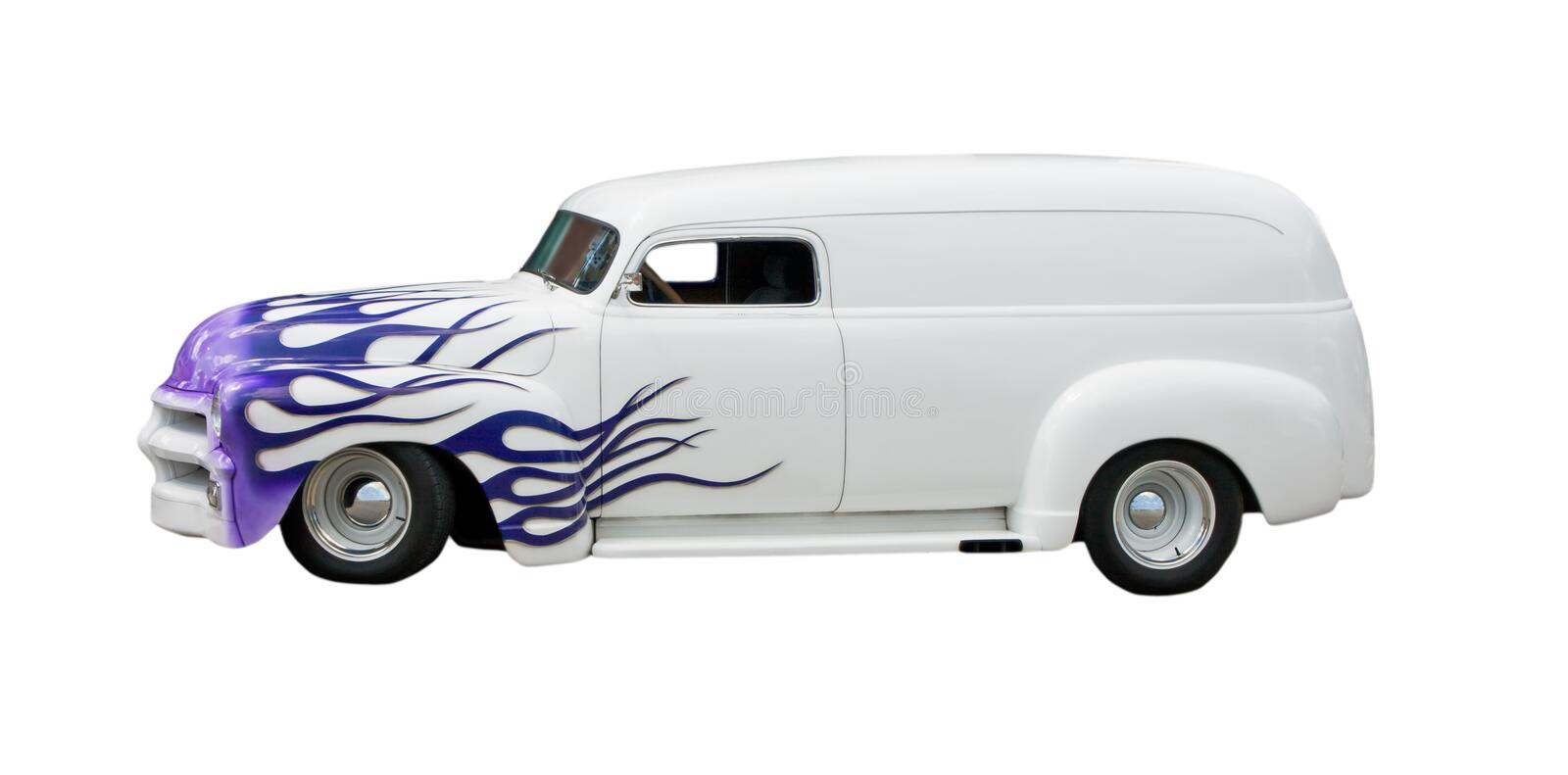 Retro hot rod van. Side view of retro hot rod van with flaming purple bodywork, isolated on white background royalty free stock image