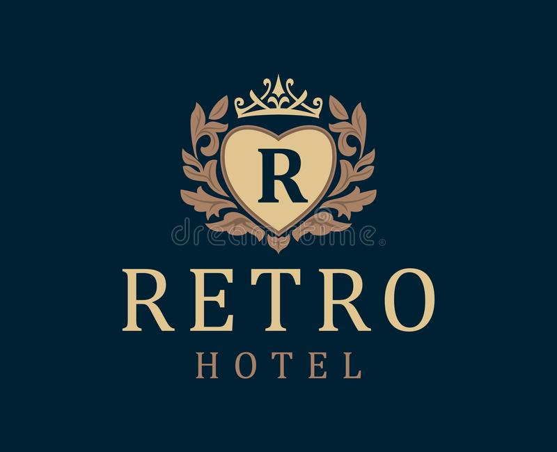Retro Hotel. Letter emblem R in heart with crown. vector illustration