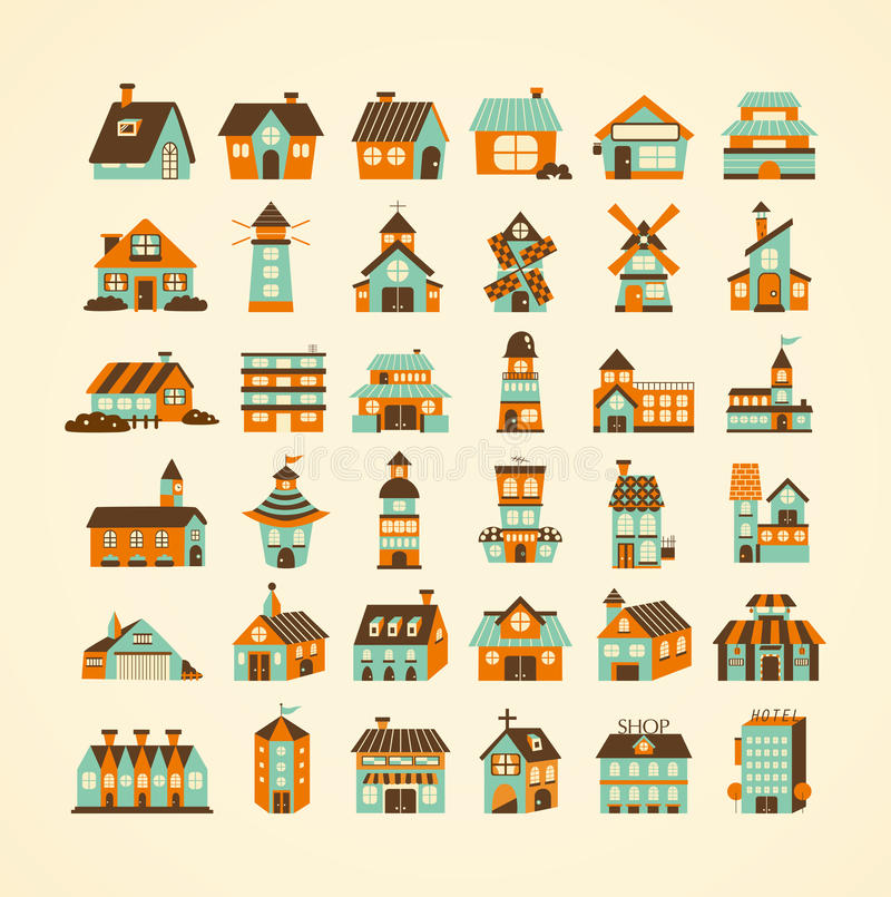 Download Retro house icon set stock vector. Image of shelter, home - 29838129