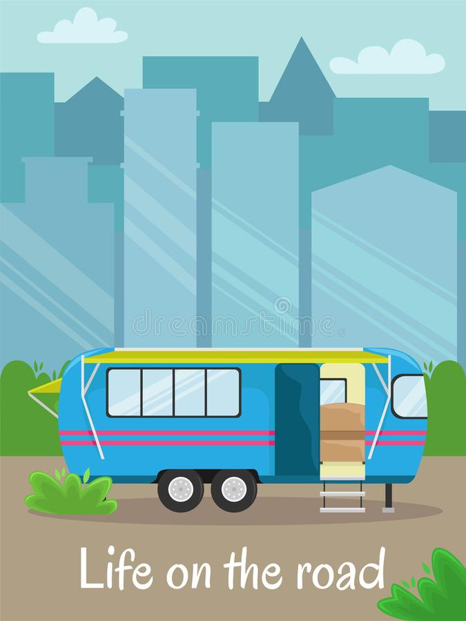 Retro house on wheels for traveling. Car travel. Vector flat illustration. Motorhome in the city. vector illustration