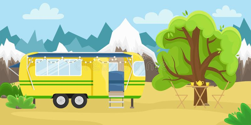 Retro house on wheels for traveling. Car travel. Vector flat illustration. Motorhome in the mountains stock illustration