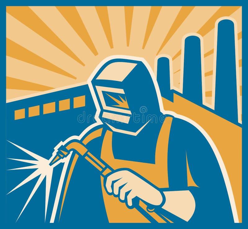 Retro Houtdruk van de Fabriek van het Lassen van de lasser stock illustratie