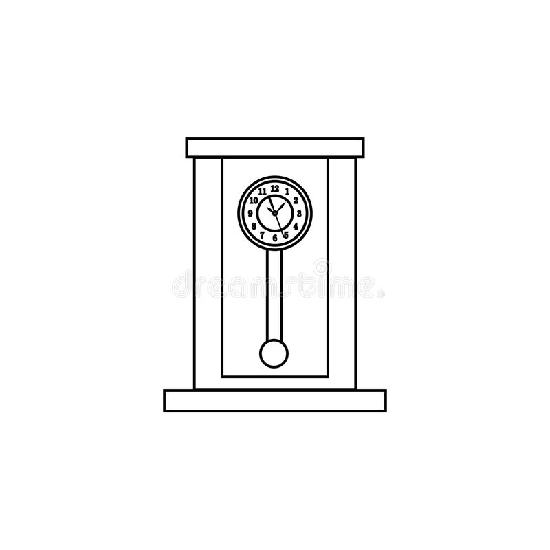 Retro houten de lijnpictogram van de slingerklok Het pictogram van de klok Het grafische ontwerp van de premiekwaliteit Tekens, s royalty-vrije illustratie