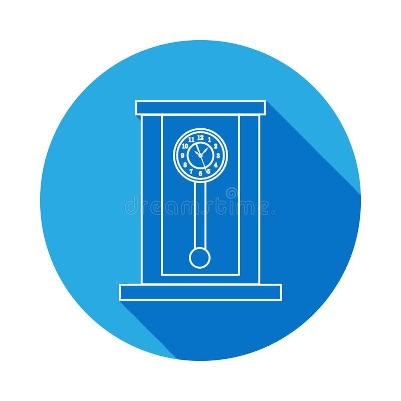 Retro houten de lijnpictogram van de slingerklok Klokpictogram met lange schaduw Het grafische ontwerp van de premiekwaliteit Tek royalty-vrije illustratie
