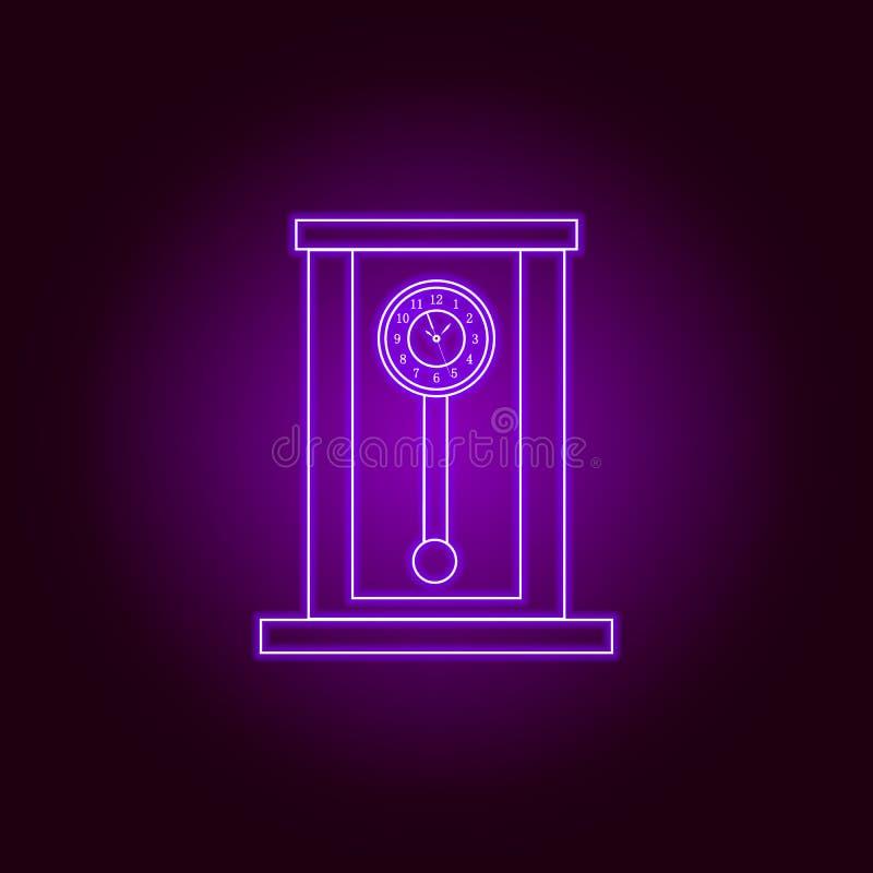 Retro houten de lijnpictogram van de slingerklok in neonstijl Het grafische ontwerp van de premiekwaliteit Tekens, symboleninzame vector illustratie
