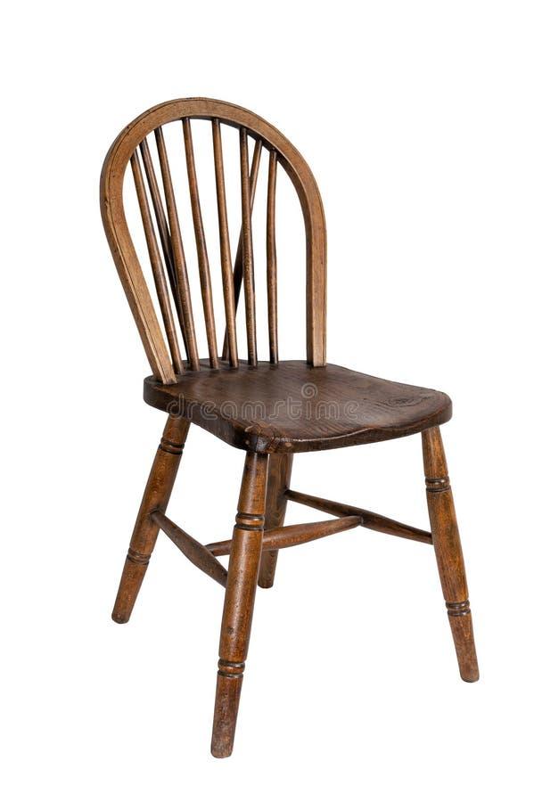 Retro houten Franse die het dineren stoel op wit met inbegrip van het knippen van weg wordt geïsoleerd stock foto's
