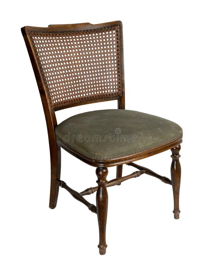 Retro houten Franse riet achterdie het dineren stoel op wit met inbegrip van het knippen van weg wordt geïsoleerd stock afbeelding