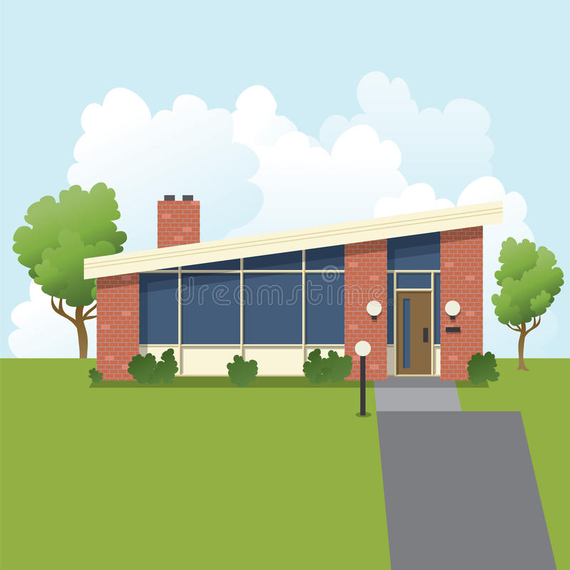 Retro Huis In de voorsteden vector illustratie