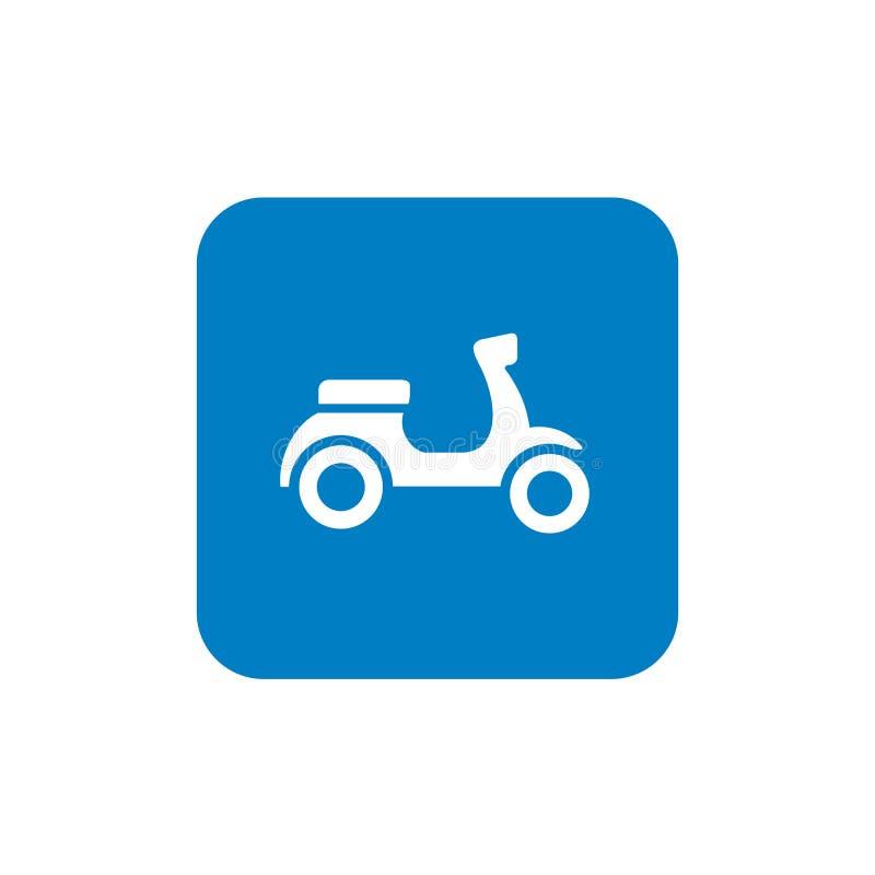 Retro hulajnoga ikony projekta, Motorowego cyklu lub silnika rower, i błękit Kwadratowa ikona ilustracji