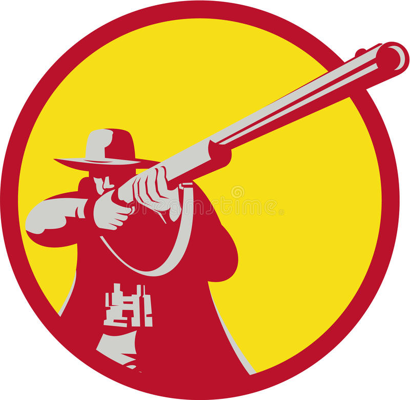 Retro Hunter Aiming Shotgun Rifle Circle vector illustratie