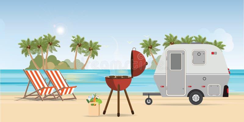 Retro husvagn på stranden och picknicken med den utomhus- grillfesten stock illustrationer