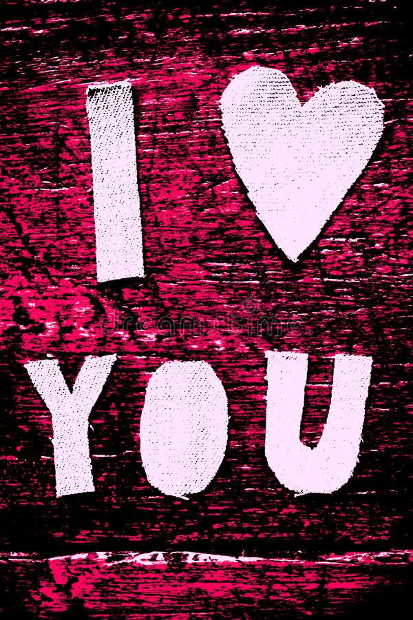 I LOVE YOU BLACK AND PURPLE royalty free stock photo
