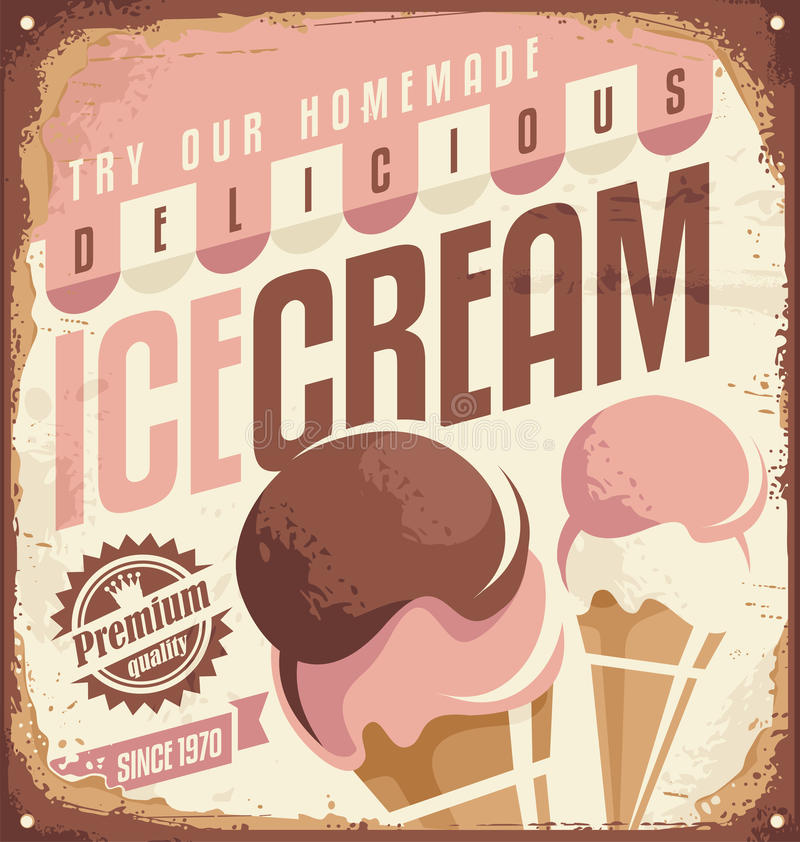 Retro ice cream tin sign. Design concept. Vintage icecream promotional poster or ad template. No transparency and no gradients used