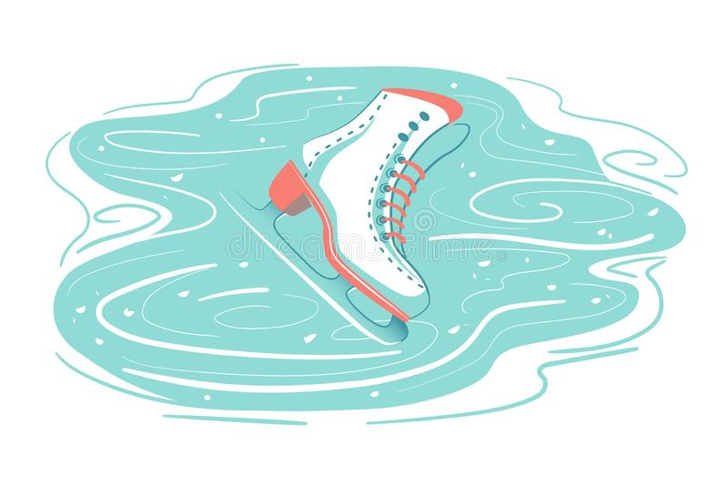 Retro Ice skate on scratched rink. Frozen Snow background with marks from skating. Winter season sport activity, Figure skating, vector illustration
