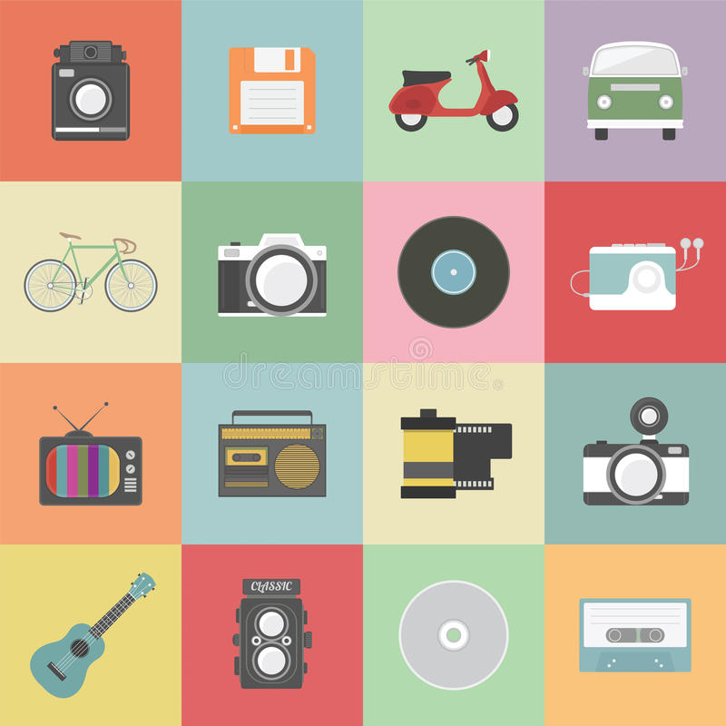 Retro icon. Set of classic icon, hipster gadget, vecter illustration royalty free illustration