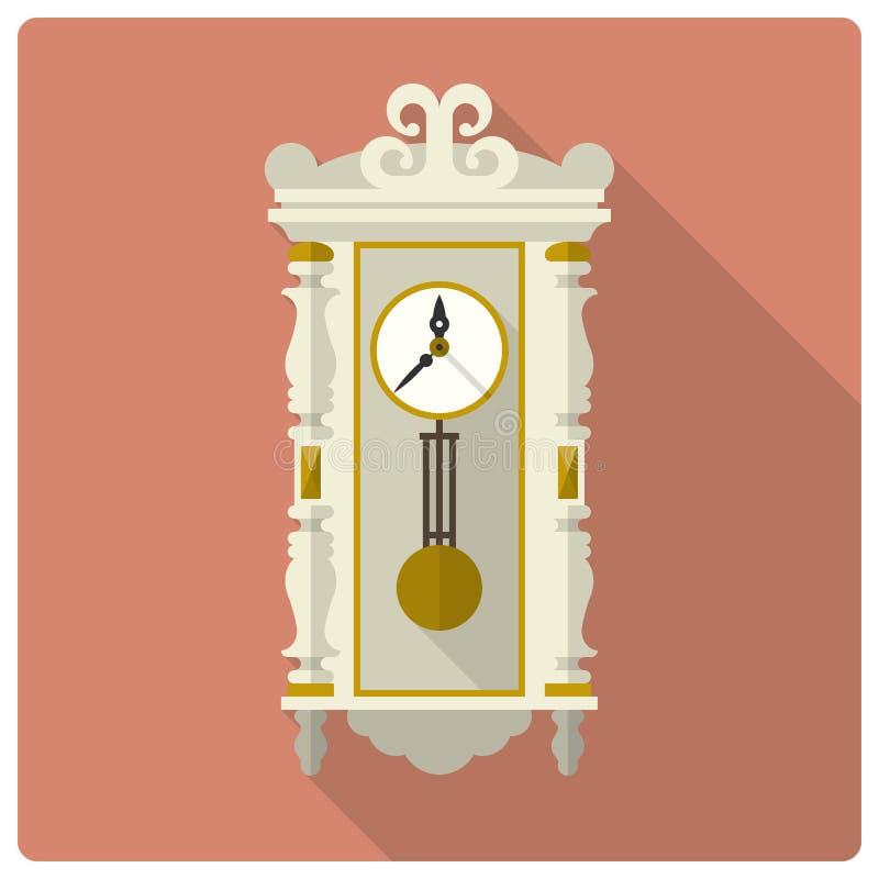 Retro icona d'annata di vettore dell'orologio di parete royalty illustrazione gratis