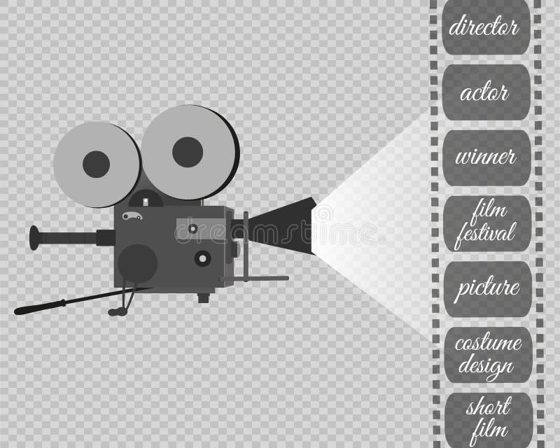 Retro icona del cinema con il posto del testo, illustrazione di vettore illustrazione di stock