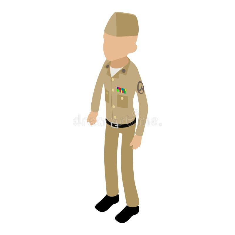 Retro icona del soldato, stile isometrico 3d illustrazione di stock