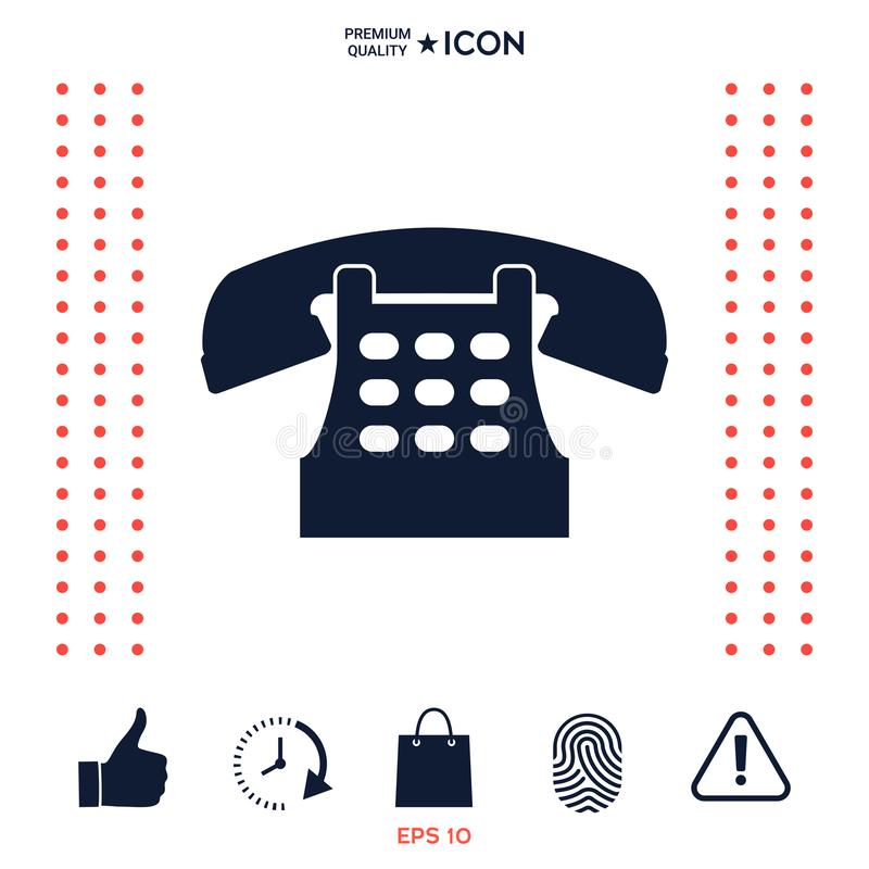 Download Retro icona del telefono illustrazione vettoriale. Illustrazione di simbolo - 117976692