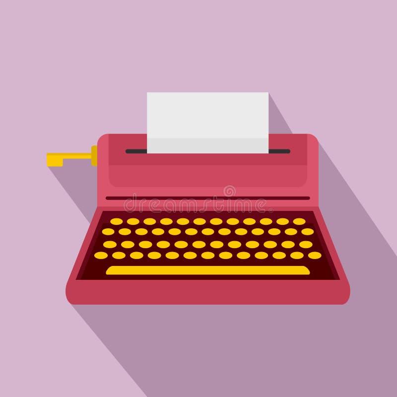 Retro icona della macchina da scrivere di stile, stile piano illustrazione vettoriale