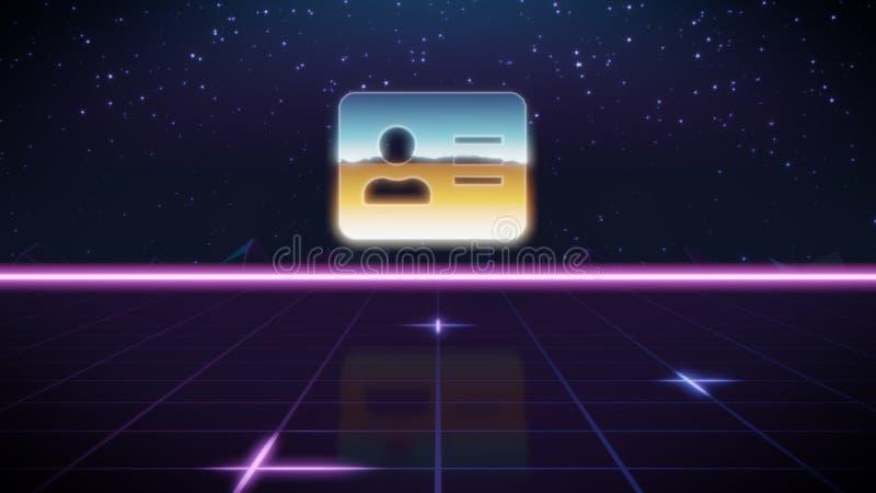 Retro icona di progettazione di Synthwave della carta di indirizzo illustrazione vettoriale