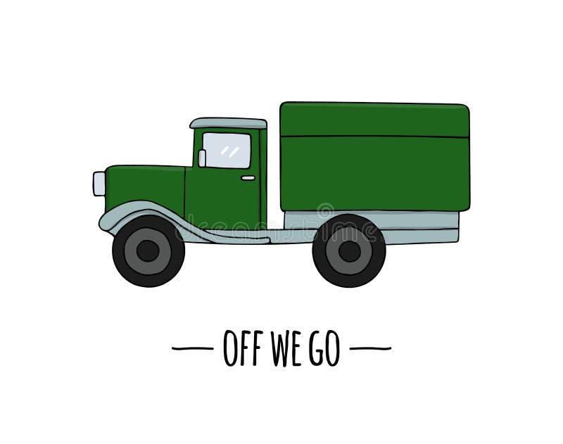 Retro icona di trasporto di vettore Illustrazione di vettore del camion illustrazione vettoriale