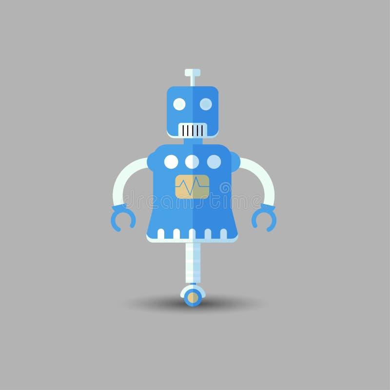 Retro icona divertente d'annata del robot di vettore nello stile piano isolata su fondo grigio Illustrazione d'annata di vettore  royalty illustrazione gratis