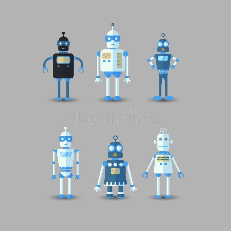 Retro icona divertente d'annata dell'insieme del robot di vettore nello stile piano isolata su fondo grigio Illustrazione d'annat illustrazione vettoriale