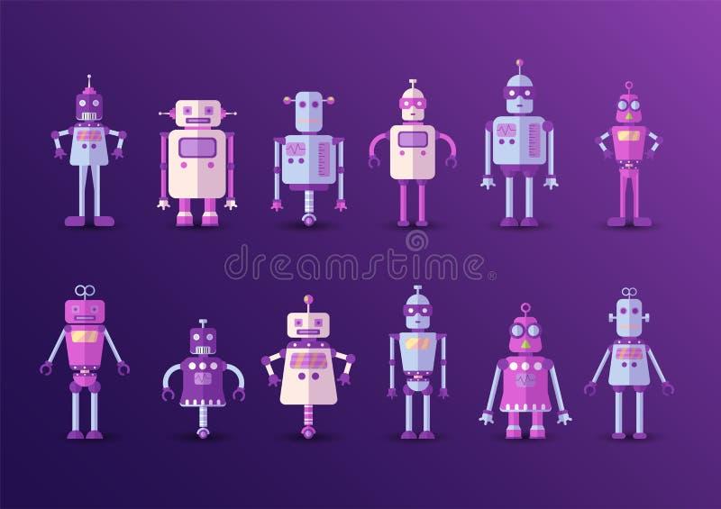Retro icona divertente d'annata dell'insieme del robot di vettore nello stile piano isolata su fondo viola Illustrazione d'annata illustrazione di stock